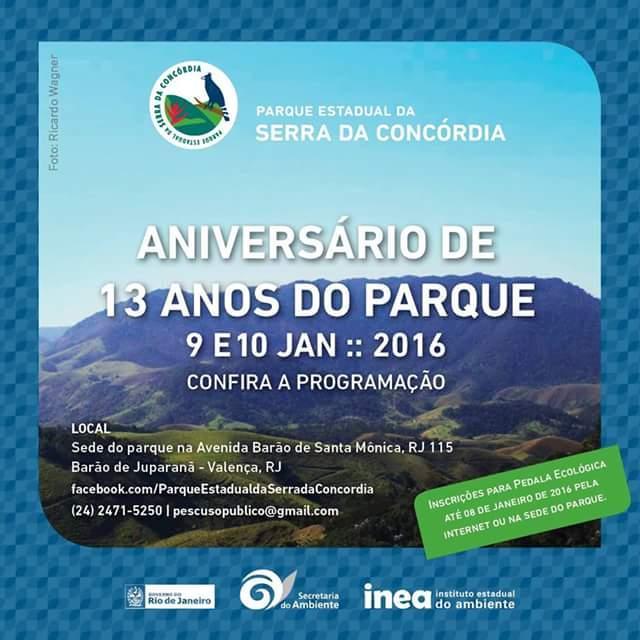 Parque Estadual da Serra da Concórdia comemora seu 13º aniversário com exposições, atividades recreativas e pedalada ecológica