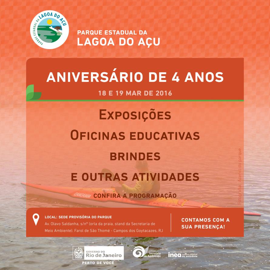 Parque Estadual da Lagoa do Açu comemora aniversário com exposições e atividades para a comunidade