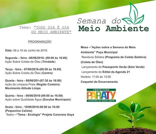 Semana do Meio Ambiente é lembrada com ações em Paraty, RJ