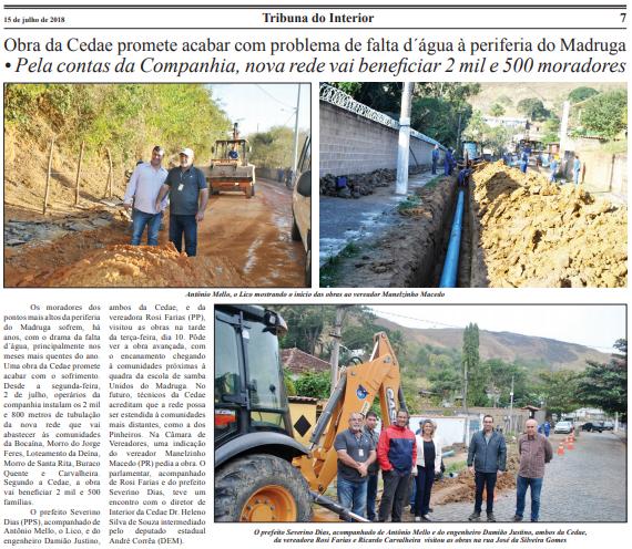 Obra da Cedae promete acabar com problema de falta d'água à periferia do Madruga